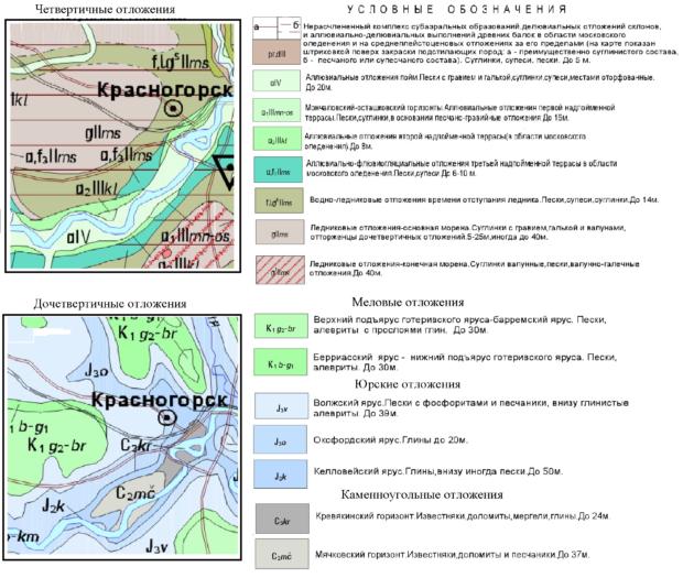Геологическая карта Красногорского района
