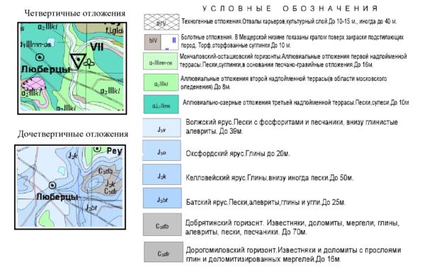 Геологическая карта Люберецкого района Московской области