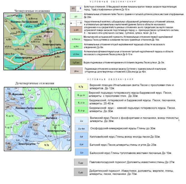 Геологическая карта Ногинского района Московской области