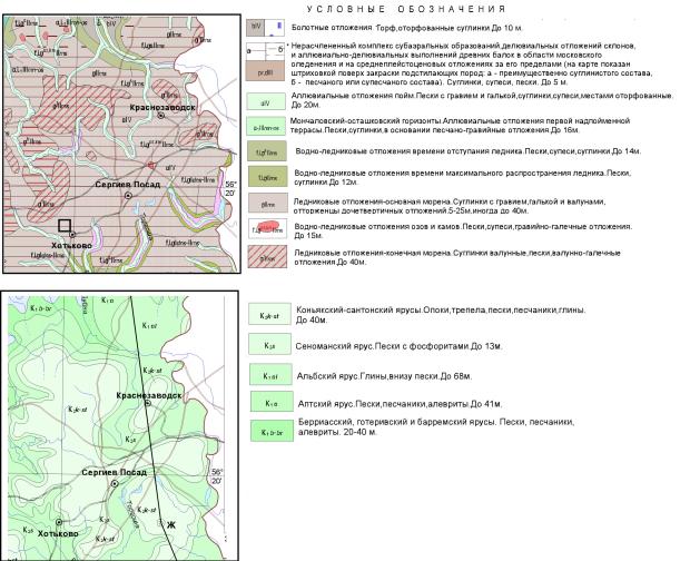 Геологическая карта Сергиево-Посадского района