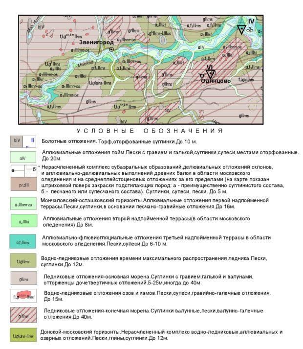 Геологическая карта четвертичных отложений Одинцовского района