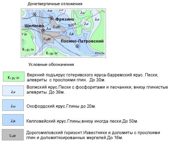Геологическая карта до четвертичных отложений Щелковского района