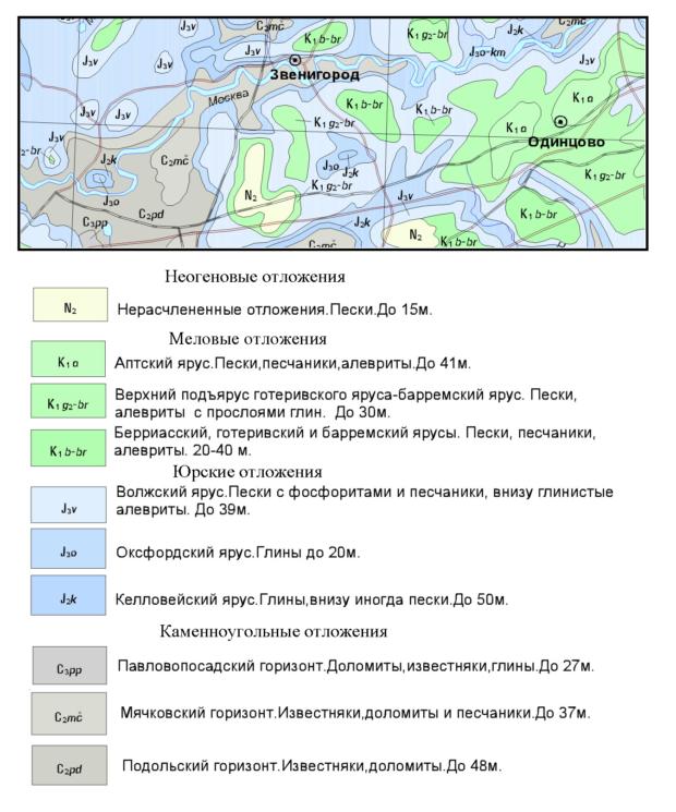 Геологическая карта до четвертичных отложений Одинцовского района