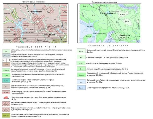 Геологическая карта Солнечногорского района