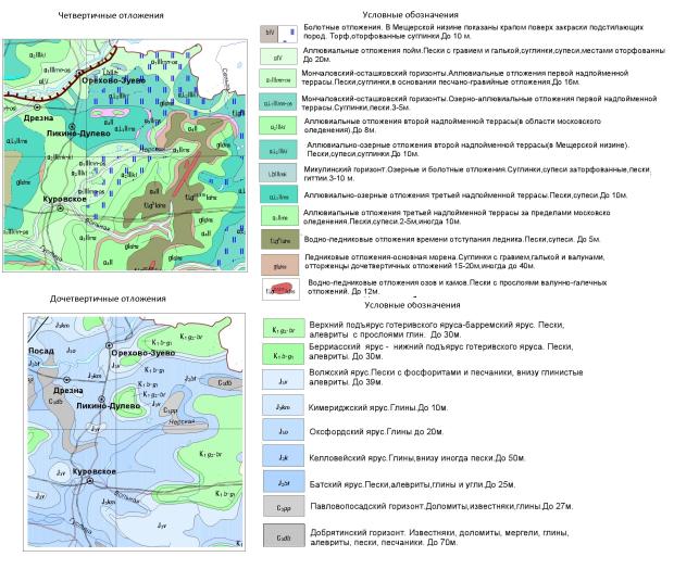 Геологическая карта Орехово-Зуевского района