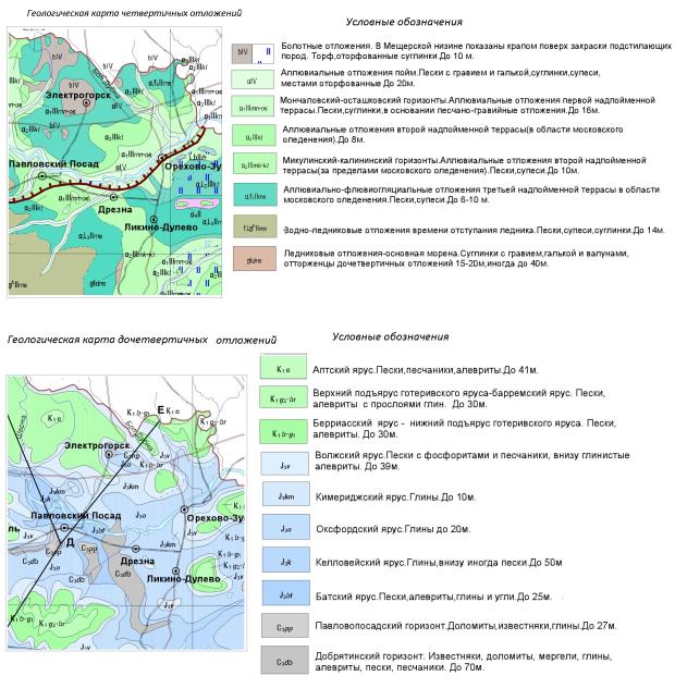 Геологическая карта Павлово-Посадского района