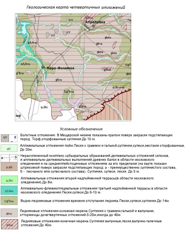 Геологическая карта четвертичных отложений Наро-Фоминского района