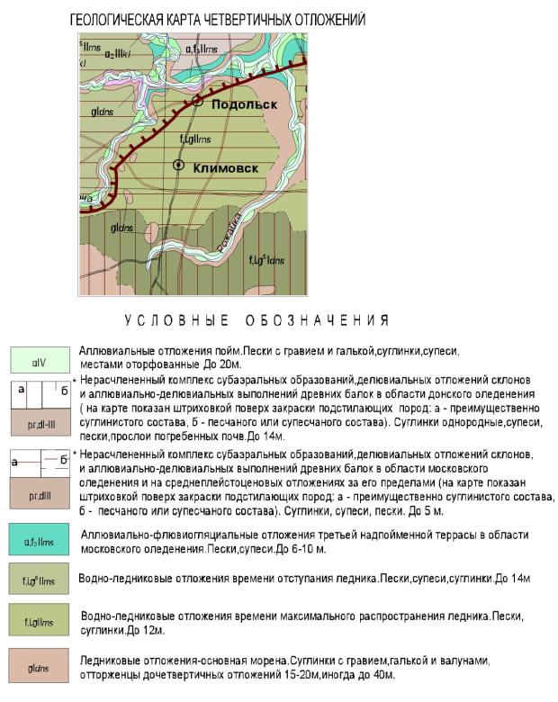 Геологическая карта четвертичных отложений Подольского района