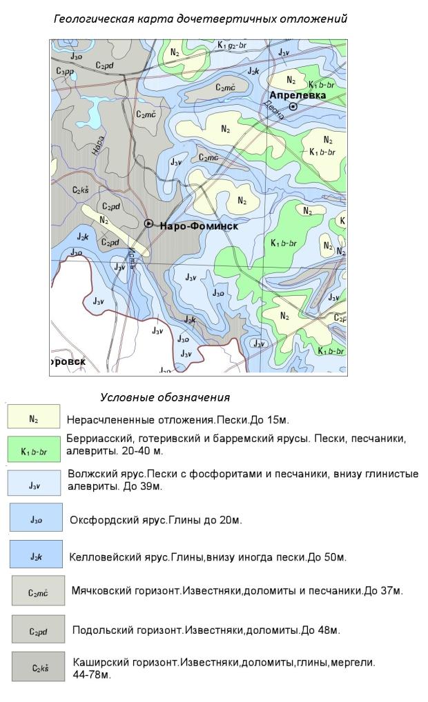 Геологическая карта дочетвертичных отложений Наро-Фоминского района