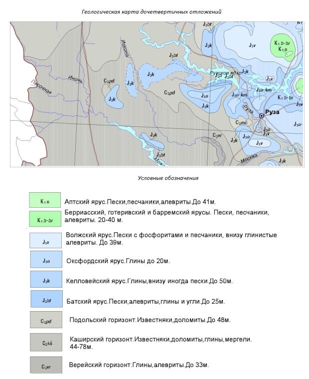 Геологическая карта дочетвертичных отложений. Рузский район