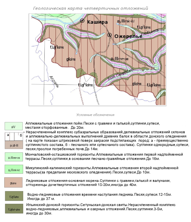 Карта четвертичных отложений Каширского района