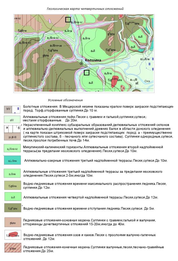 Карта четвертичных отложений. Коломенский район