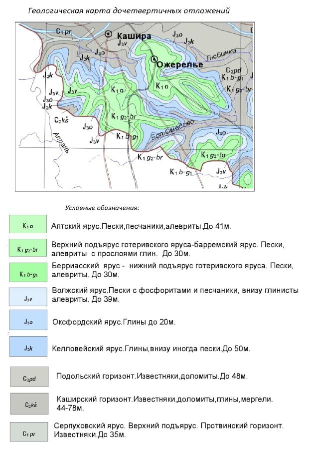 Карта дочетвертичных отложений Каширского района