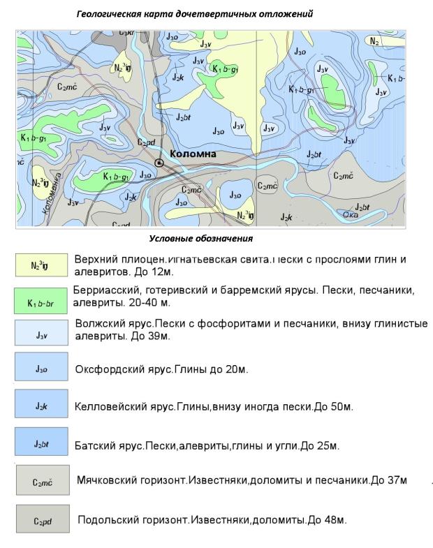 Карта дочетвертичных отложений. Коломенский район