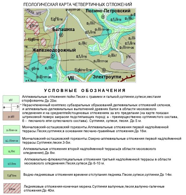 Геологическая карта четвертичных отложений балашихинского района