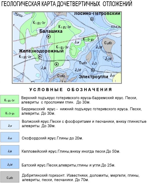Геологическая карта дочетвертичные отложений Балашихинского района