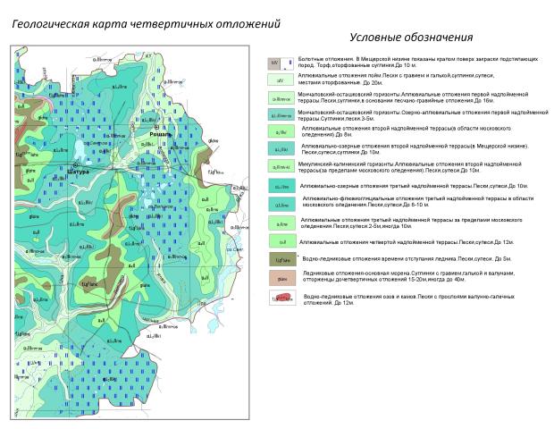 Геологическая карта четвертичных отложений Шатурского района