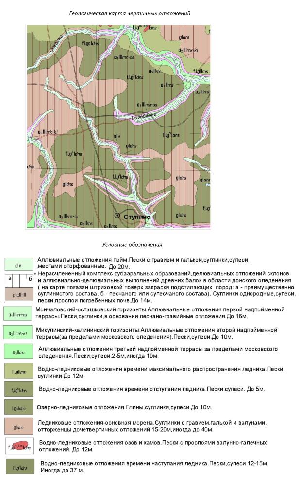 Геологическая карта четвертичных отложений Ступинского района