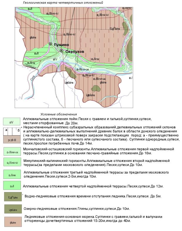 Геологическая карта четвертичных отложений. Серпуховский район