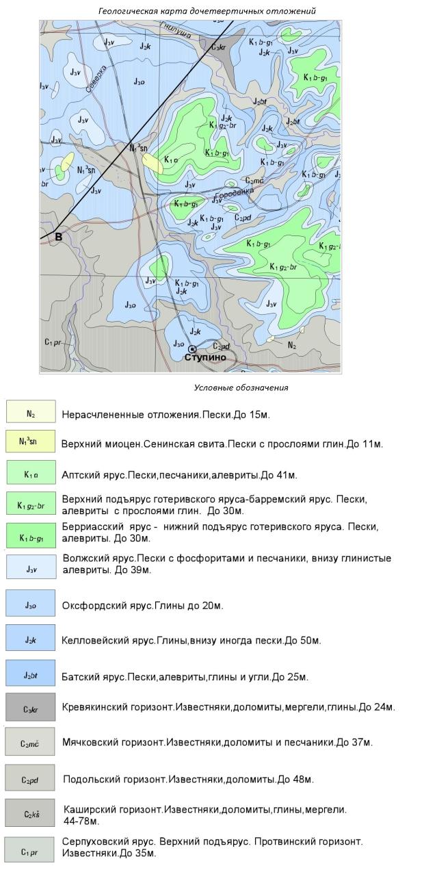 Геологическая карта дочетвертичных отложений Ступинского района