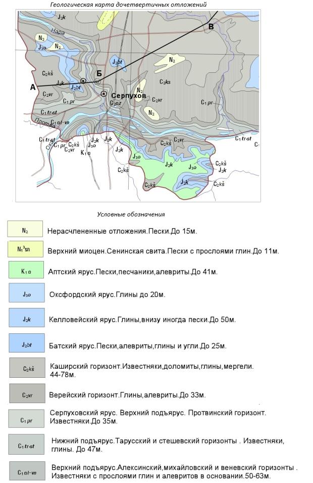 Геологическая карта дочетвертичных отложений. Серпуховский район